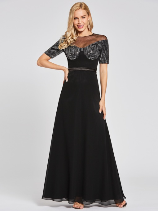 Scoop Short Sleeves A-Line Evening Dress