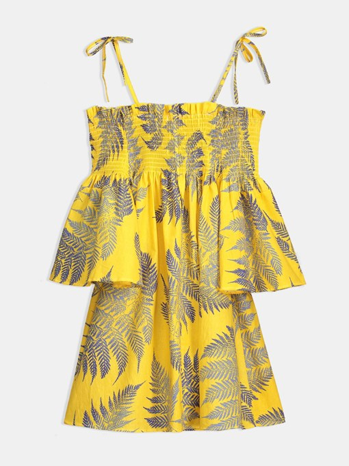 Yellow Strappy Bell Sleeve Women's Day Dress