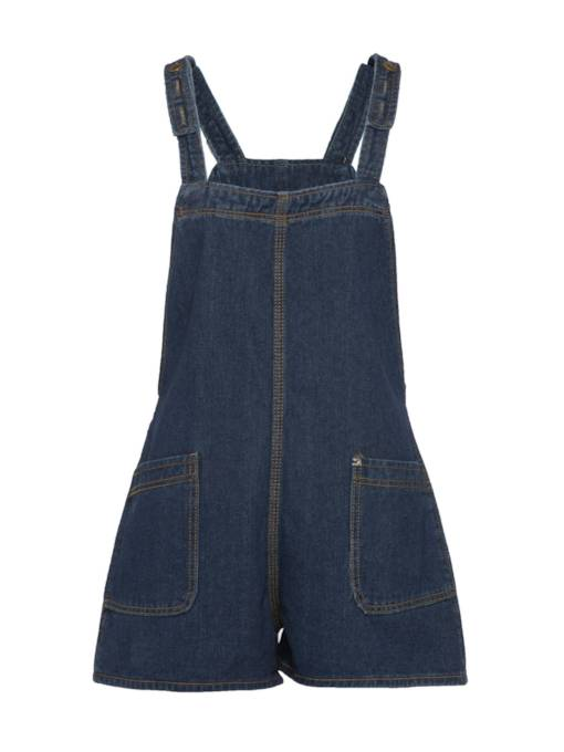 Double Big Pocket Denim Short Women's Overall
