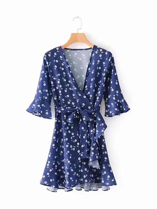 Floral Printing 3/4Length Sleeve Day Dress
