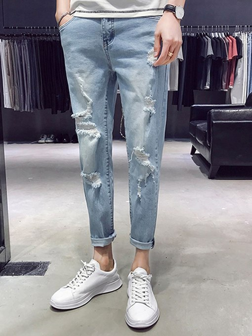 Hole Straight Loose Men's Jeans