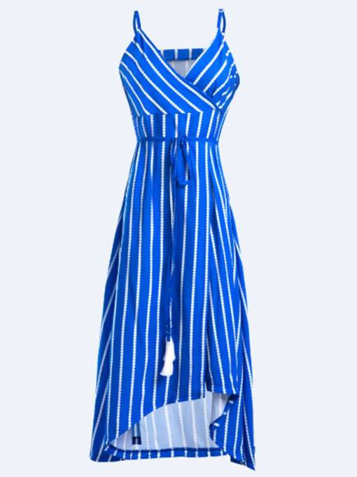 Blue Tassels Striped Women's Maxi Dress