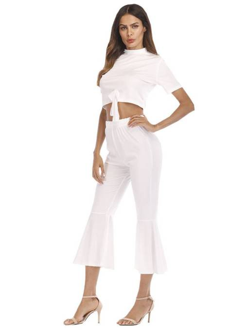 Tie Front Crop Top and Bellbottoms Pants Women's Two Piece Set