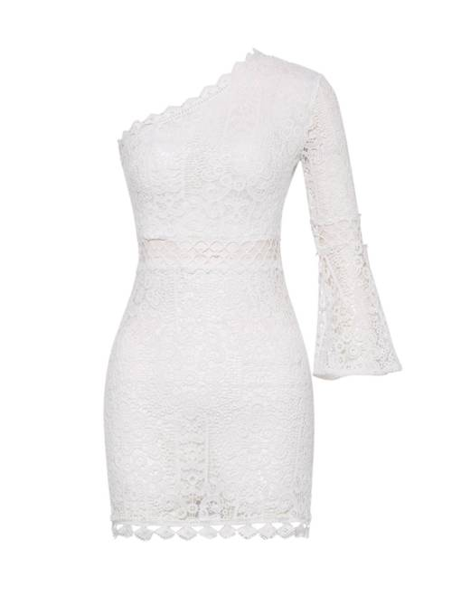 White One Shoulder Bell Sleeve Women's Lace Dress