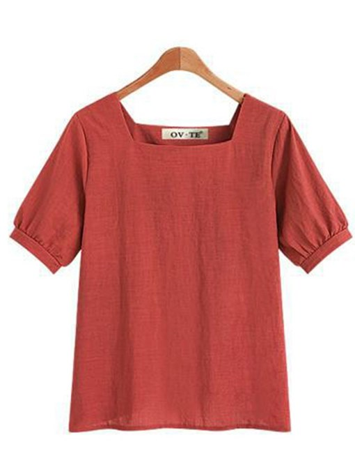 Square Neck Puff Sleeve Solid Color Women's Basic Tee