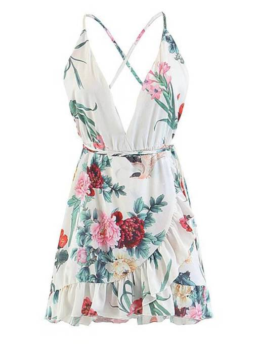 Floral Strappy Backless Women's Sexy Dress