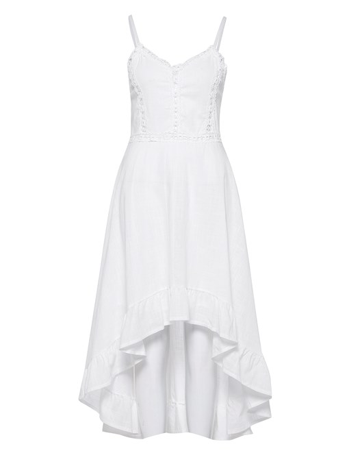 White Strappy Asym Women's Maxi Dress