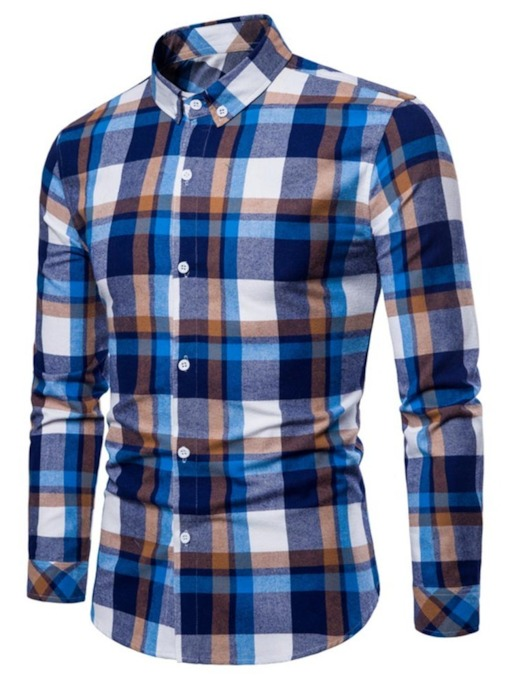 Lapel Plaid Leisure Slim Men's Button Shirt