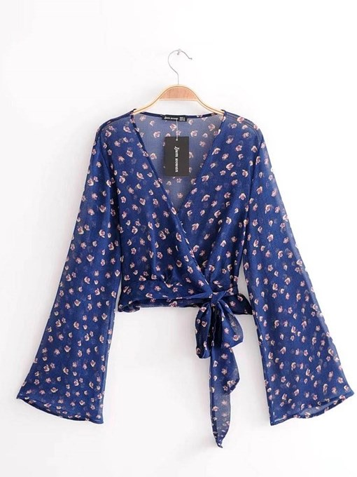 Plunge Tie Waist Flare Sleeve Floral Women's Blouse