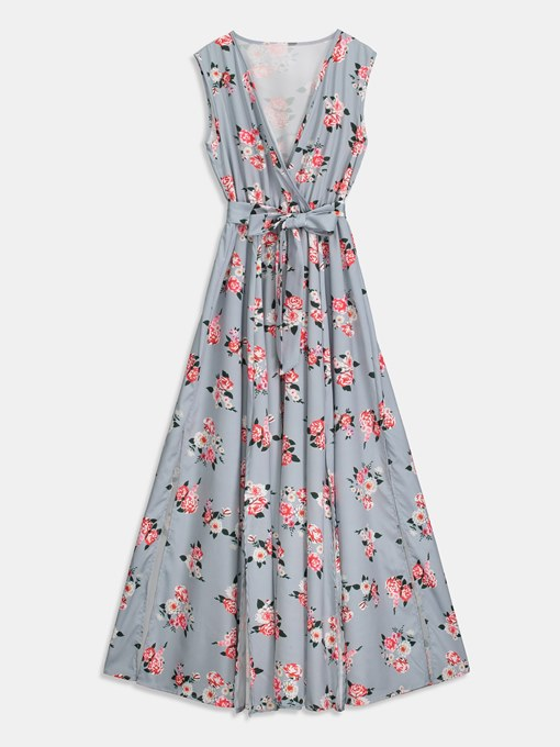 V Neck Floral Prints A-Line Maxi Dress