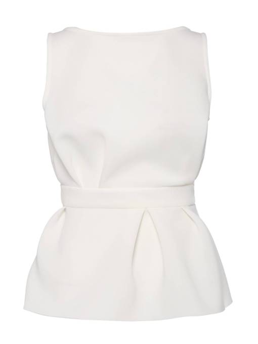 Ruched Tight Waist Peplum Sleeveless Women's Blouse