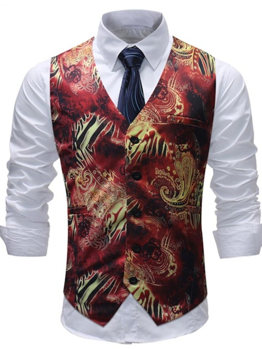 V-Neck Luxury Print Slim Men's Vest