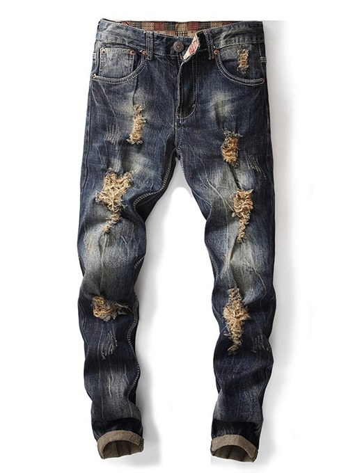 Hole Straight Worn Men's Jeans