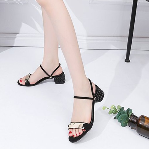 Chunky Heel Ankle Strap Open Toe Sequin Dressy Women's Sandals