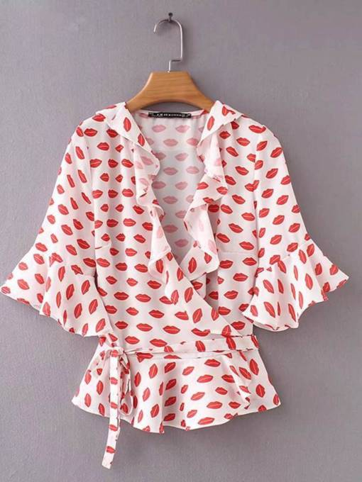 Frilled Lip Printed Lace Up Women's Blouse