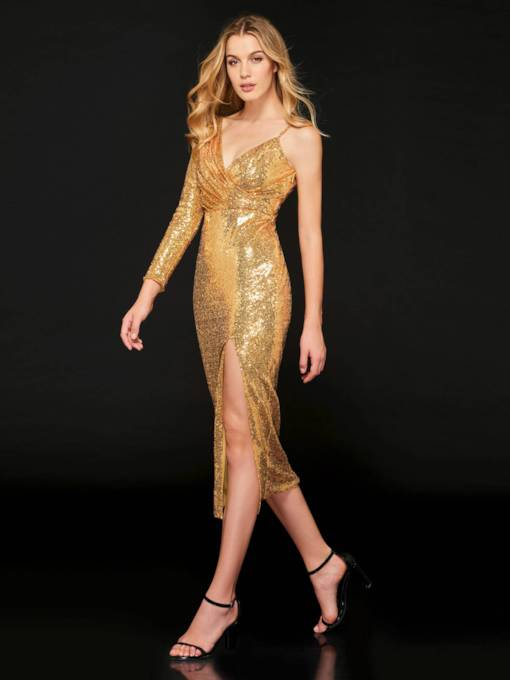 Sheath Split-Front V-Neck Sequins Evening Dress