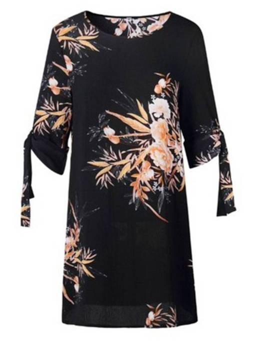Round Neck Floral Women's Sheath Dress