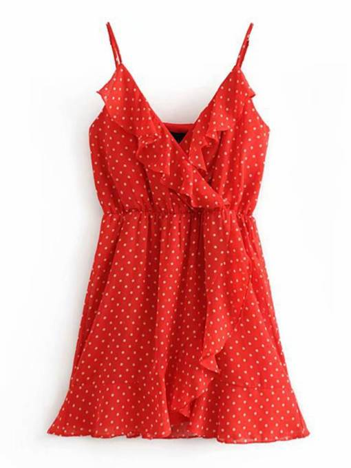Polka Dots Falbala Women's Sexy Dress