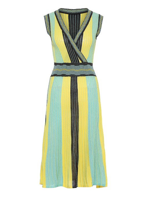 Green Striped Women's Day Dress