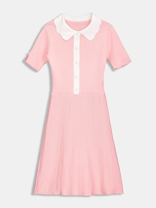 Pink Polo Neck Short Sleeve Women's Day Dress