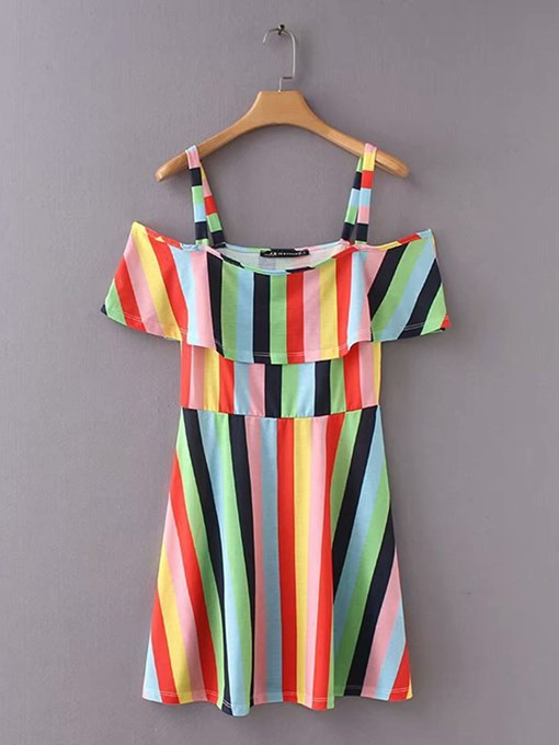 Color Block Stripes Women's Sexy Dress