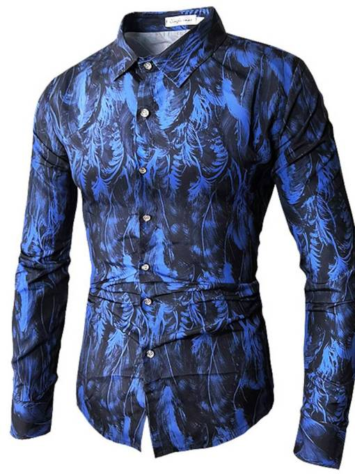 Lapel Floral Print Slim Leisure Men's Shirt
