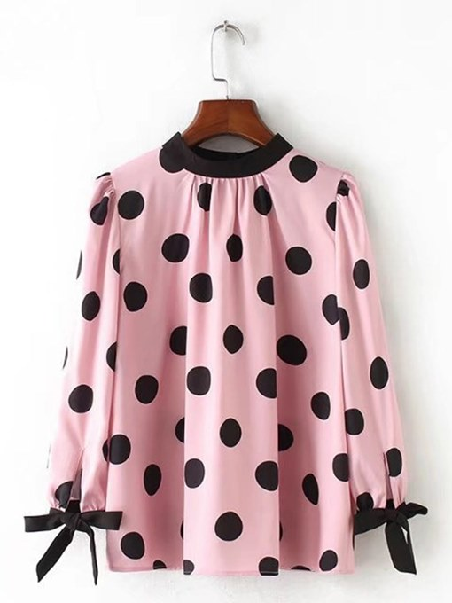 Lace Up Polka Dot Pleated Women's Blouse
