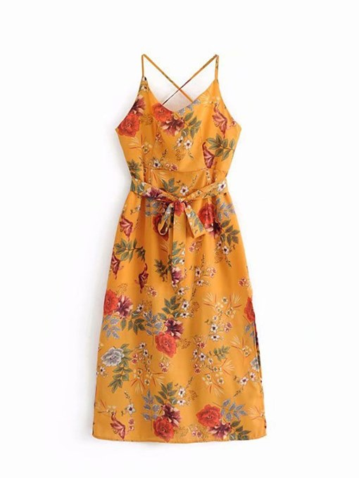 Yellow Floral Lace up Women's Sexy Dress