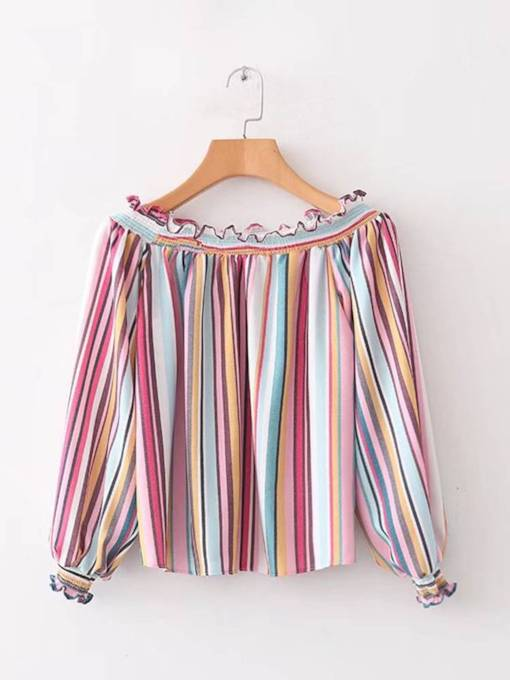 Frilled Colorful Stripe Long Sleeve Women's Blouse