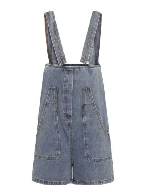 Denim Short Pocket Belt Women's Overalls