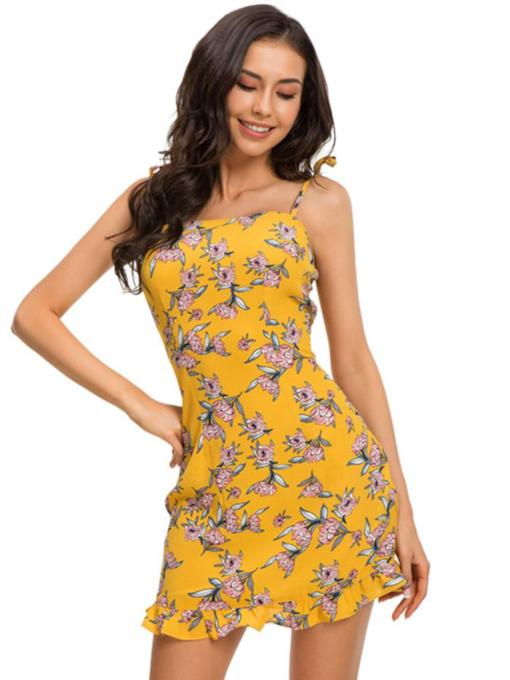 Backless Floral Women's Party Dress
