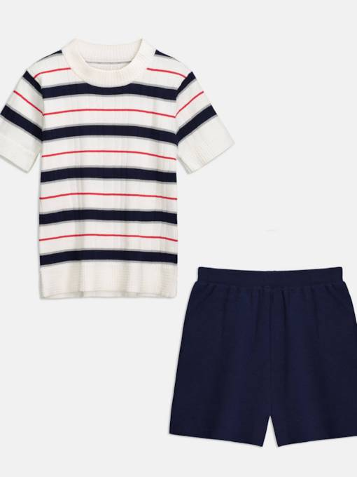 Striped Top and Plain Shorts Women's Two Piece Set