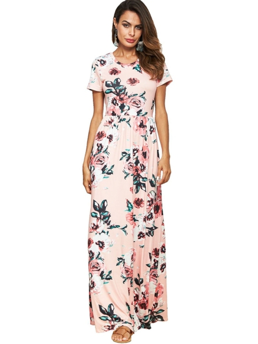 Open Back Floral Women's Maxi Dress