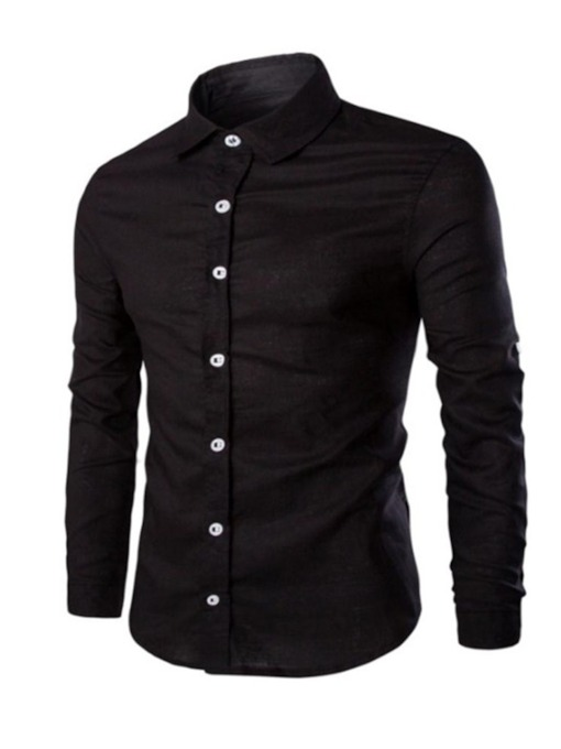 Lapel Solid Color Leisure Men's Shirt