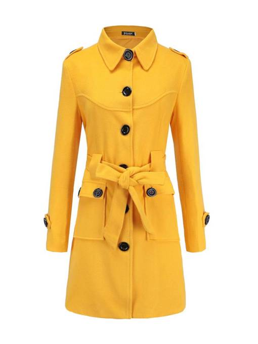 Button Down Belt Mid Length Women's Overcoat