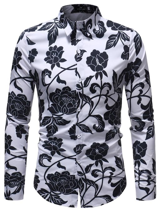 Lapel Flower Print Leisure Slim Men's Shirt