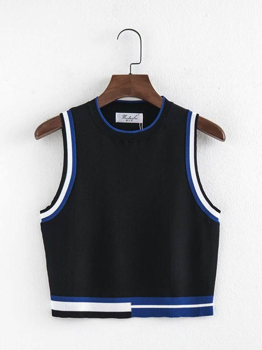 Contrast Color Knit Slim Fit Women's Tank Top