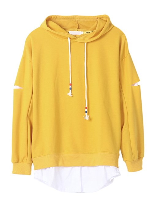 Hole Drawstring Solid Color Women's Hoodie