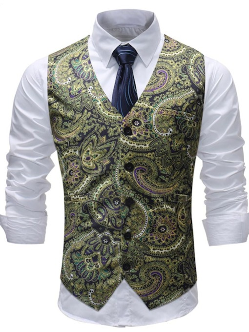 Ethnic Print Slim Fit Men's Vest
