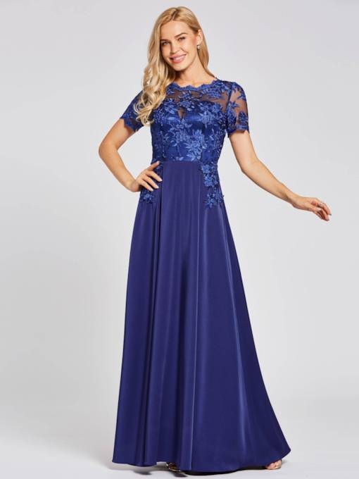 Scalloped-Edge Lace Appliques A Line Evening Dress