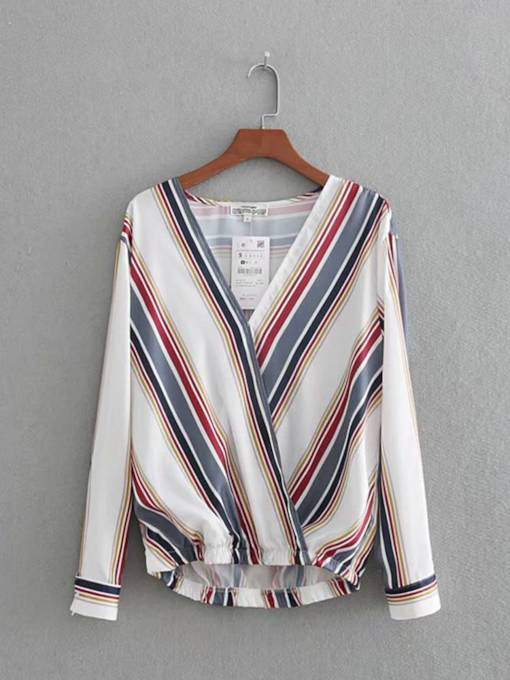Plain Stripe V-Neck Long Sleeve Women's Blouse