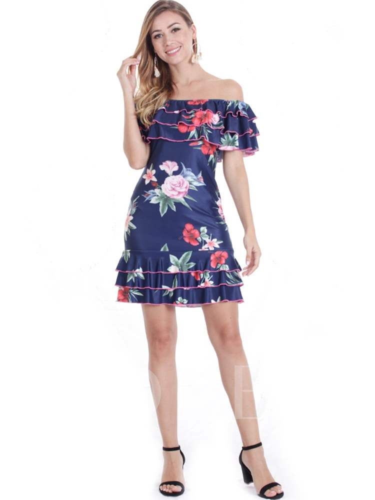 Buy Off Shoulder Ruffle Floral Prints Day Dress, Summer, 13333025 for $15.44 in TBDress store