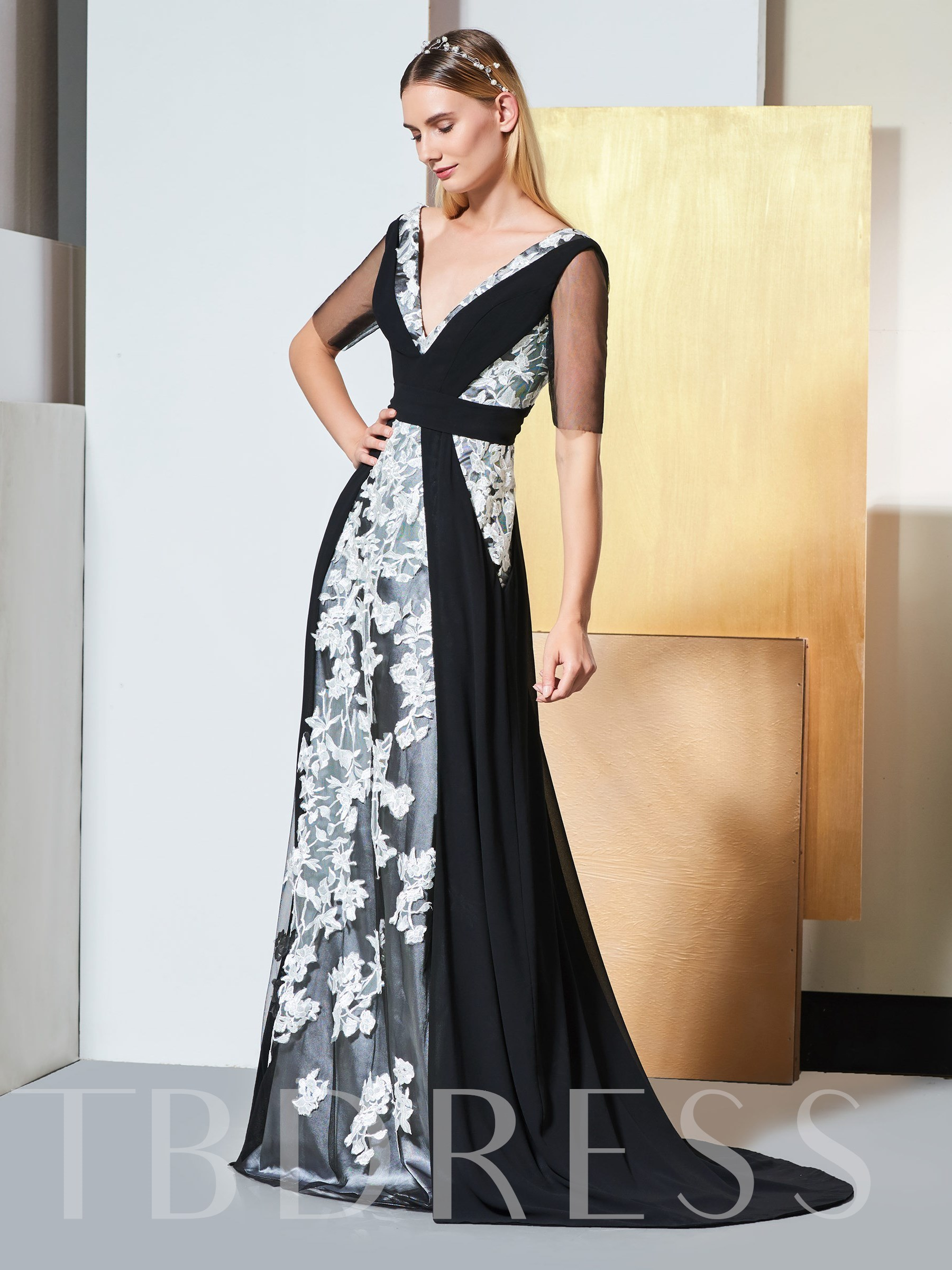Buy A-Line V-Neck Appliques Half Sleeves Evening Dress, Spring,Summer,Fall,Winter, 13334953 for $153.29 in TBDress store