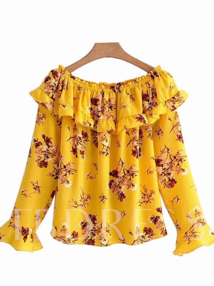 Ruffle Floral Boat Neck Flare Sleeve Women's Blouse, Summer, 13335791