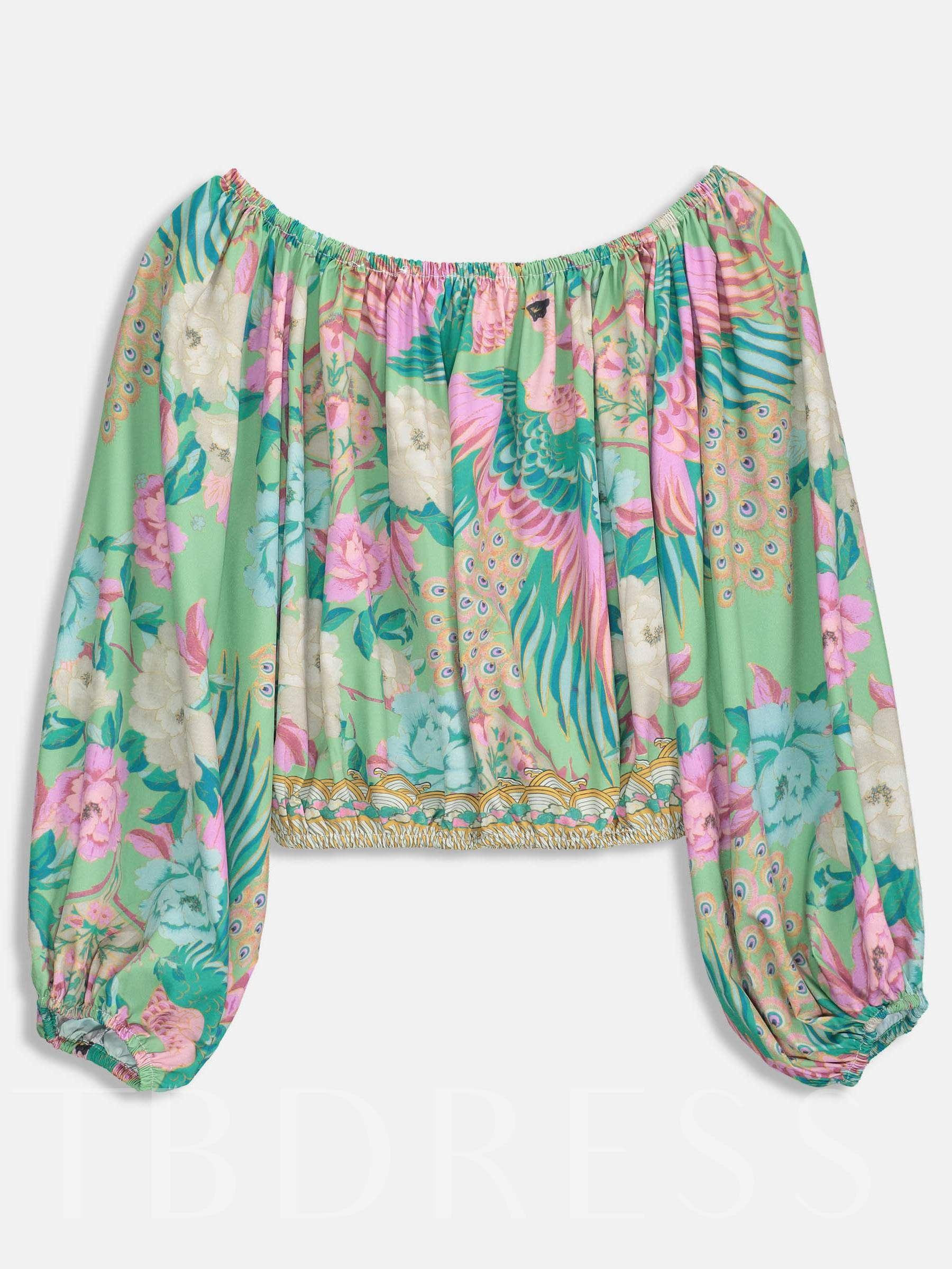 Buy Floral Boat Neck Puff Sleeve Women's Blouse, Summer, 13341755 for $13.97 in TBDress store