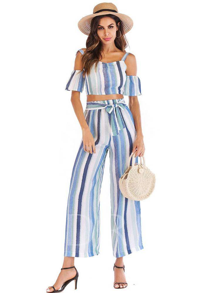 Stripe Off Shoulder Tee and Pants Women's Two Piece Set, Summer, 13354889