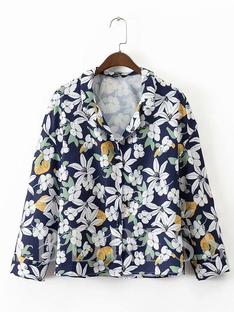 Buy Floral Single-Breasted Lapel Long Sleeve Women's Shirt, Spring,Fall, 13334531 for $10.29 in TBDress store