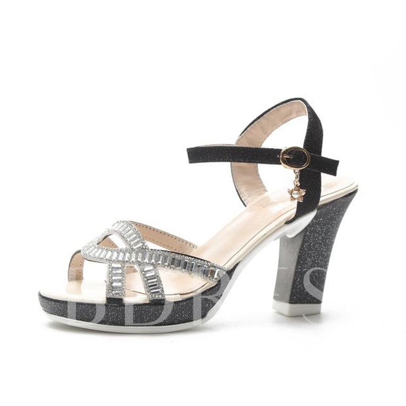 Buy Ankle Strap Chunky Heel Rhinestone Platform Women's Sandals, Spring,Summer, 13337146 for $34.58 in TBDress store
