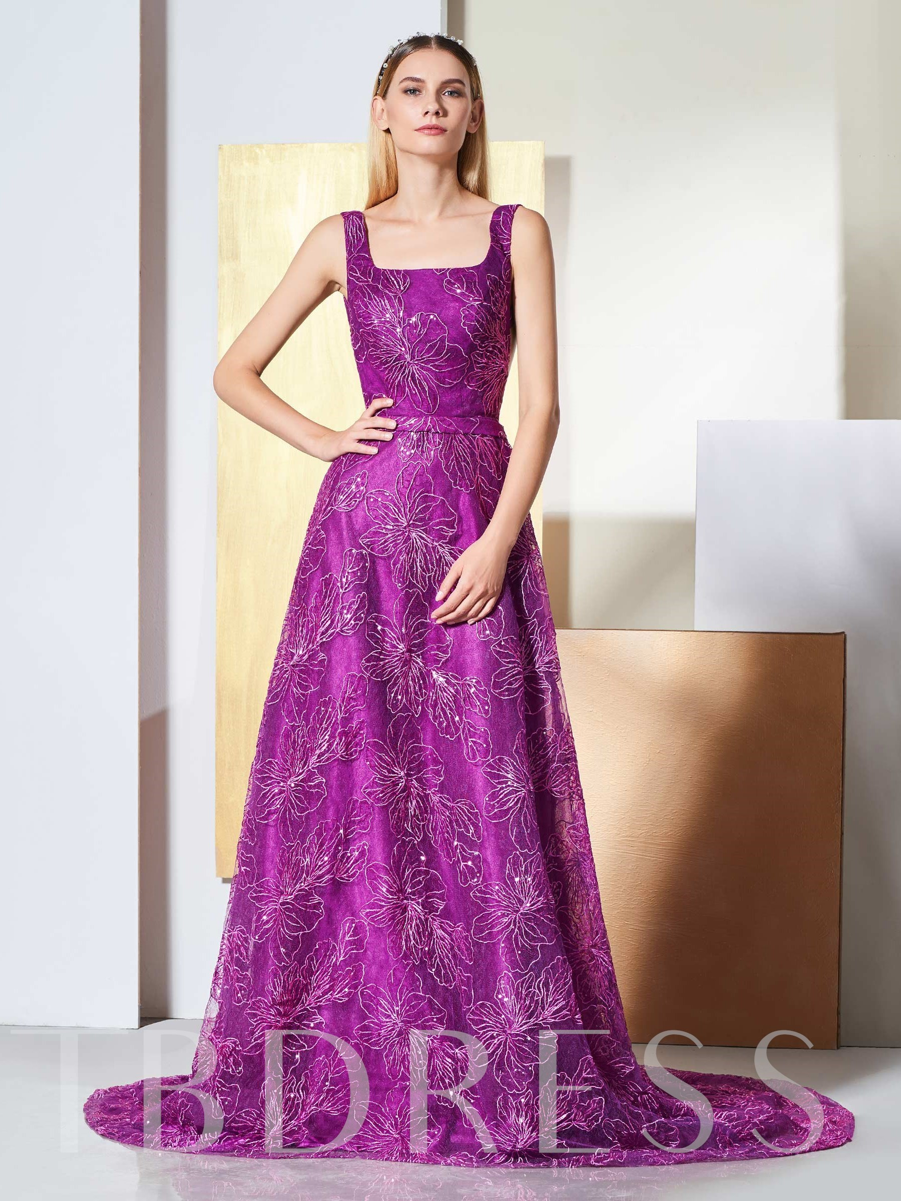 Buy A-Line Lace Backless Straps Evening Dress, Spring,Summer,Fall,Winter, 13332662 for $177.44 in TBDress store