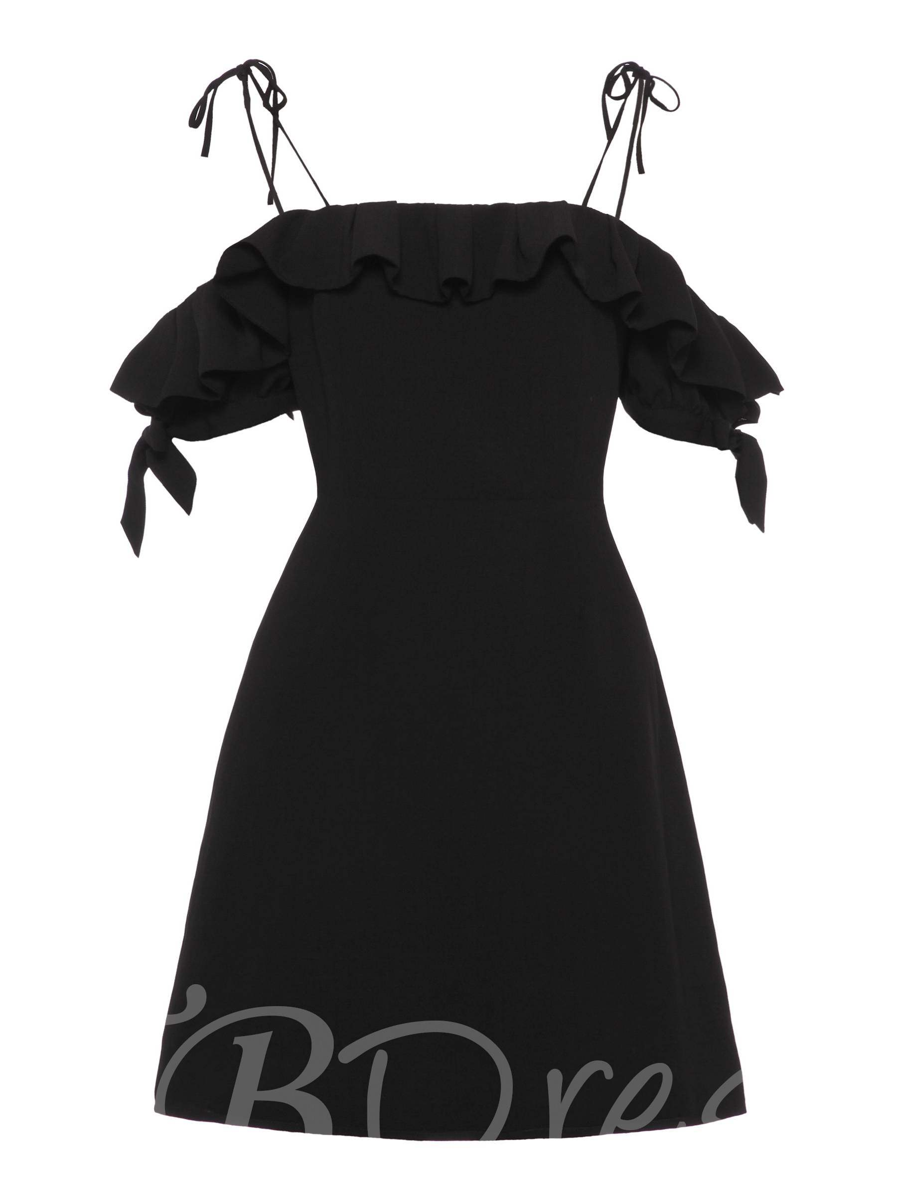 Strappy Ruffle Neck Short Sleeve Women's Day Dress, Spring,Summer,Fall, 13341988